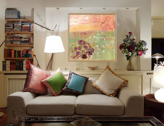 By artist Dario Somigli--Campi Giallo Verde Ocra Carta cotone o tela stampa di PaintS129