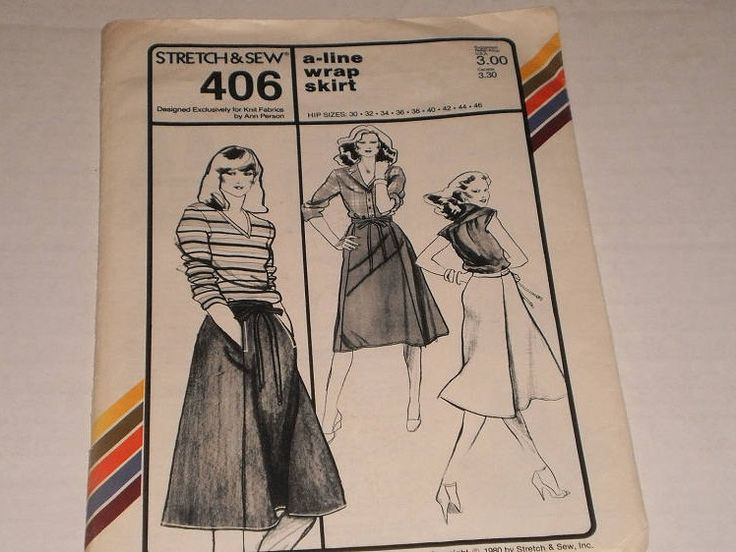 "Vintage Stretch & Sew Pattern 406, A- Line Wrap Skirt, Hip Sizes 30 - 46, Waist Sizes 20 - 37"" (51 - 94cm), Moderately Full, Ties At Waist by TheShoppingMoll on Etsy"