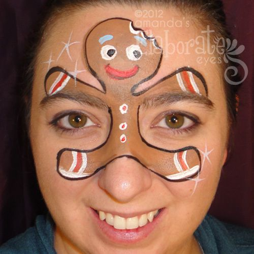 Gingerbread Man Face Paint Misschien niet zo bekend in Nederland dit peperkoekmannetje, maar daarom niet minder leuk.