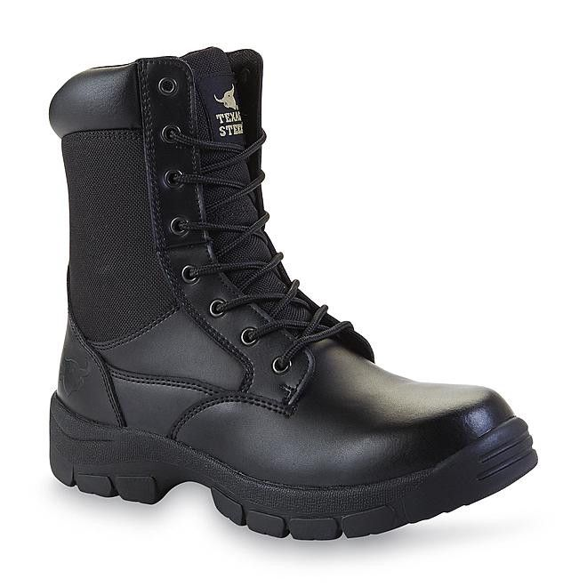 "Mens TEXAS STEER Kadmus 3 Black Leather Soft Toe 8"" Swat Boot Sz 10.5"