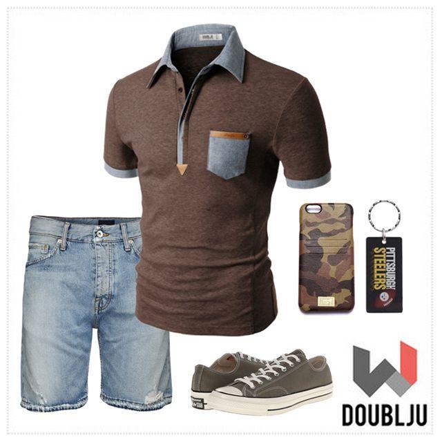 Doublju Mens Denim Collar Pocket Highlight Short Sleeves