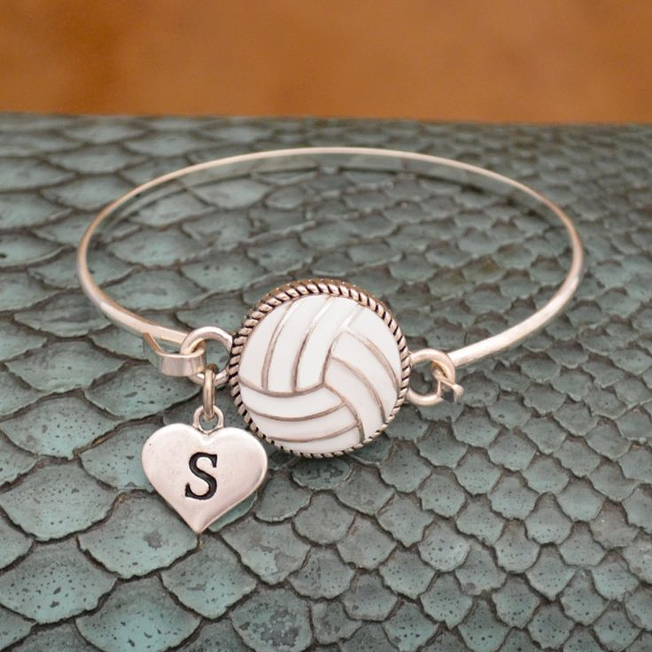 charmingcollectables.net - Custom Initial Volleyball Wire Bangle Bracelet, $12.98…
