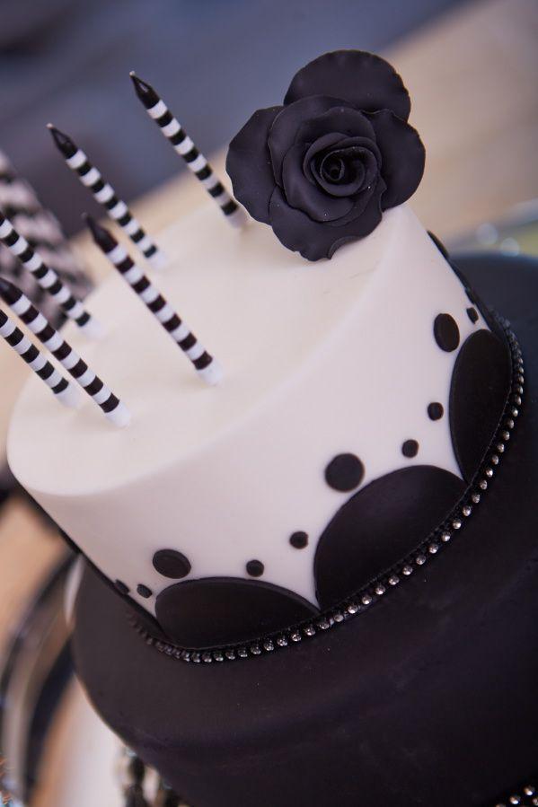 Black & White Birthday Cake with Black Fondant Rose