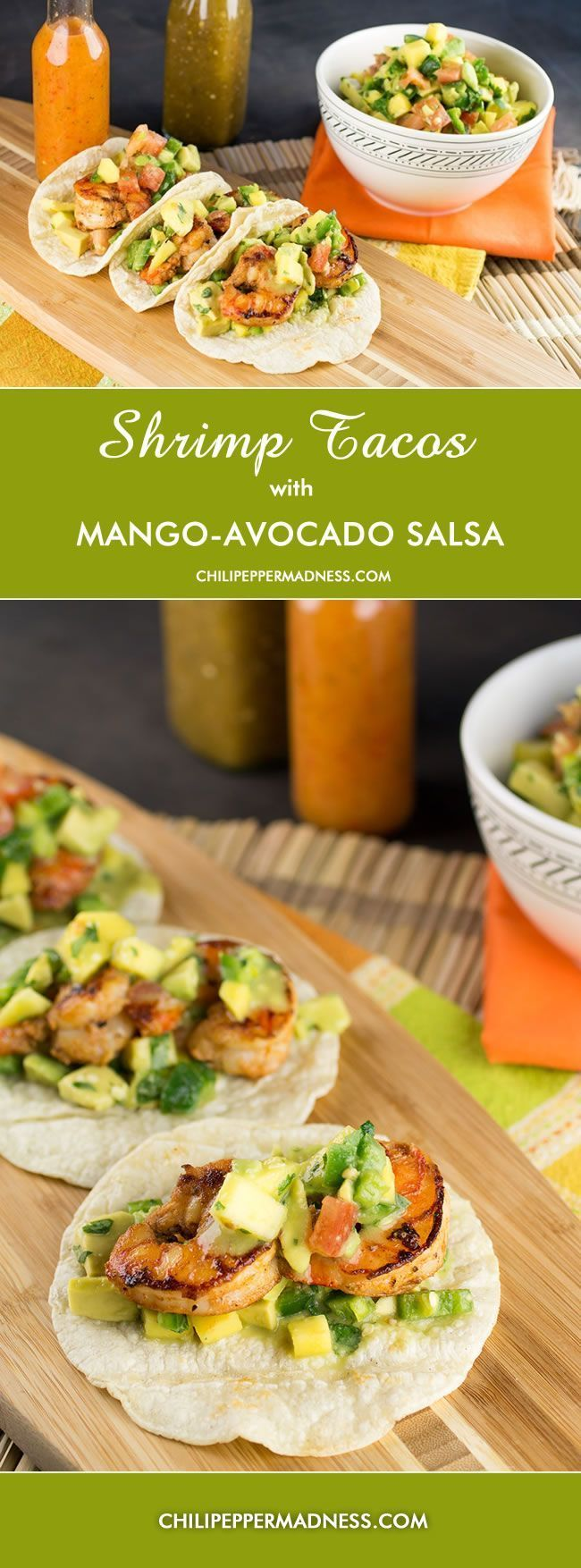 Shrimp Tacos with Fresh Mango-Avocado Salsa from ChiliPepperMadness.com