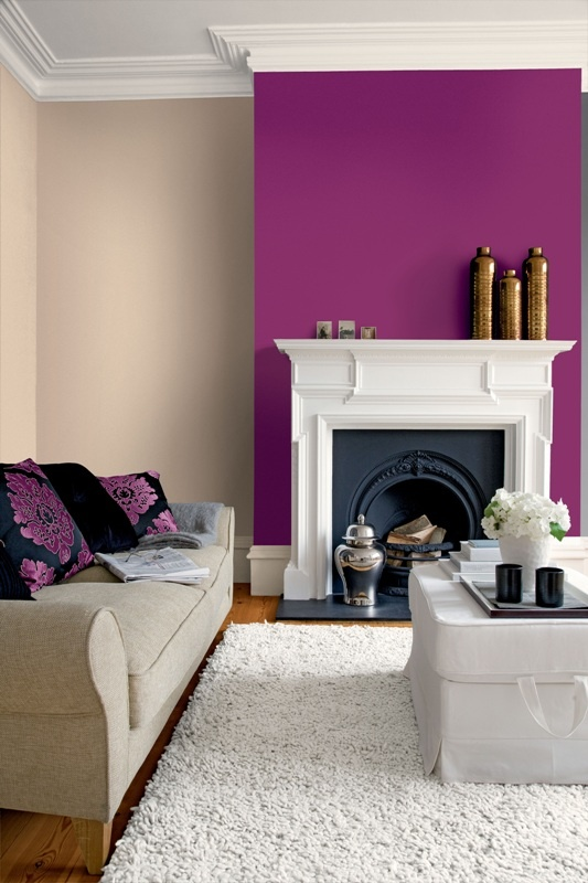 Purple alcove wall with cream either side. Looks nice with the purple cushions as well. Crown Paints Feature Wall Range- Scrumptious