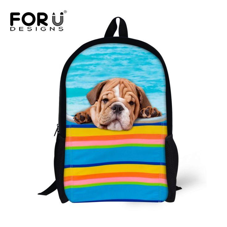 Brand Unique Children School Bags Teenager Girls Animal French Bulldog Schoolbag for Student Kids Book Bags Mochila Escolar