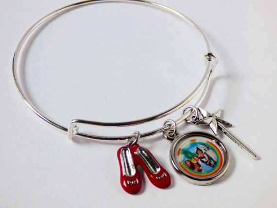 Wizard of Oz Adjustable Bangle Bracelet Ruby Red Slippers Charm Rainbow Wand Recycled Paper Upcycled Materials Expandable Movie Jewelry OOAK