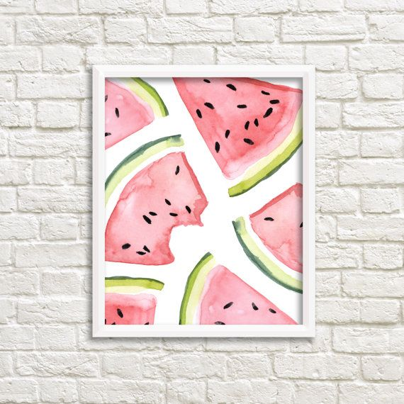 Watercolor Pink And Green Watermelon Slices Printable Wall Art Watermelon  Print Summer Watermelon Fruit Art Print Kitchen Wall Art Kitchen Decor  Watercolor ...