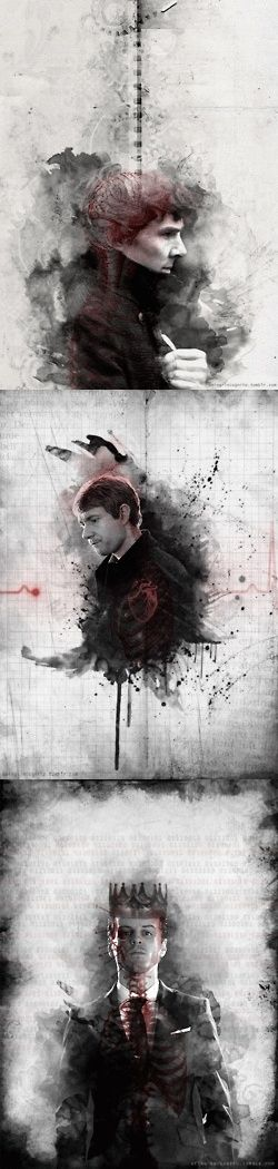 Sherlock is brains, John is heart, Moriarty is nothing but skin and bones. beautiful fanart.