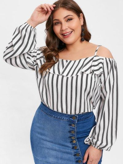 30bb9551 Cold Shoulder Striped Plus Size Flounce Blouse. Also noticed Plus size  dresses tops, blouses