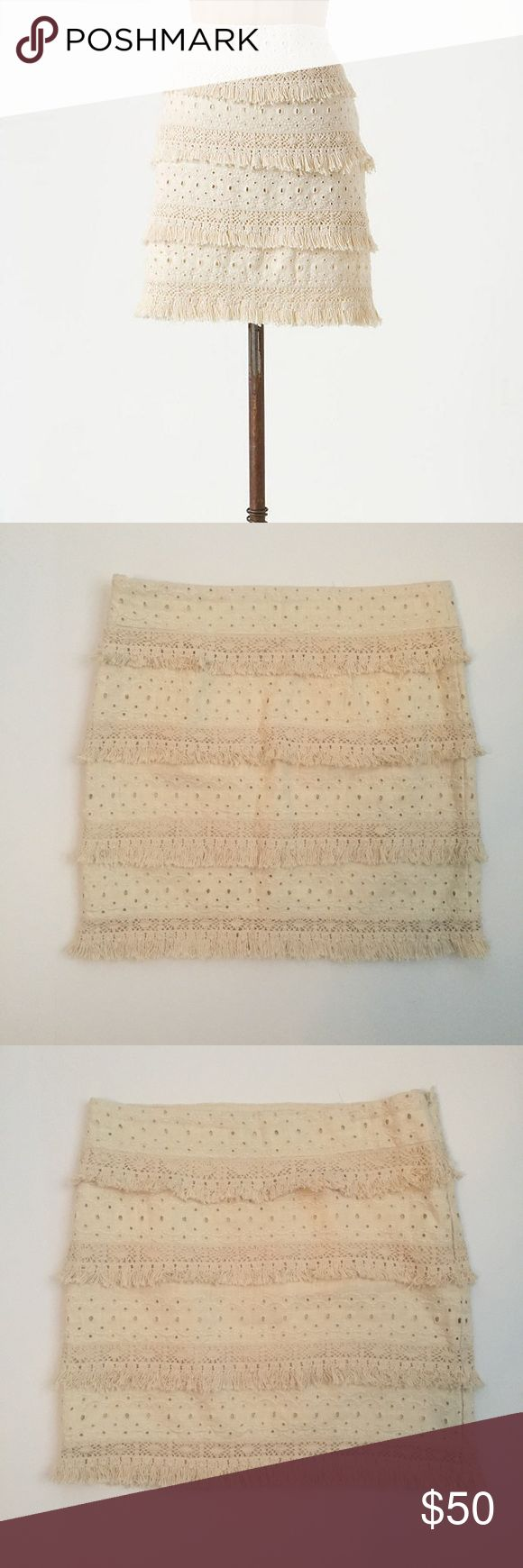 Anthropologie HD in Paris Tiered Fringe Skirt Linen and cotton fringe tiered skirt from Anthropologie. A heavier material, perfect for spring with a chambray blouse and booties. Perfect condition, I'll take reasonable offers. Anthropologie Skirts Mini