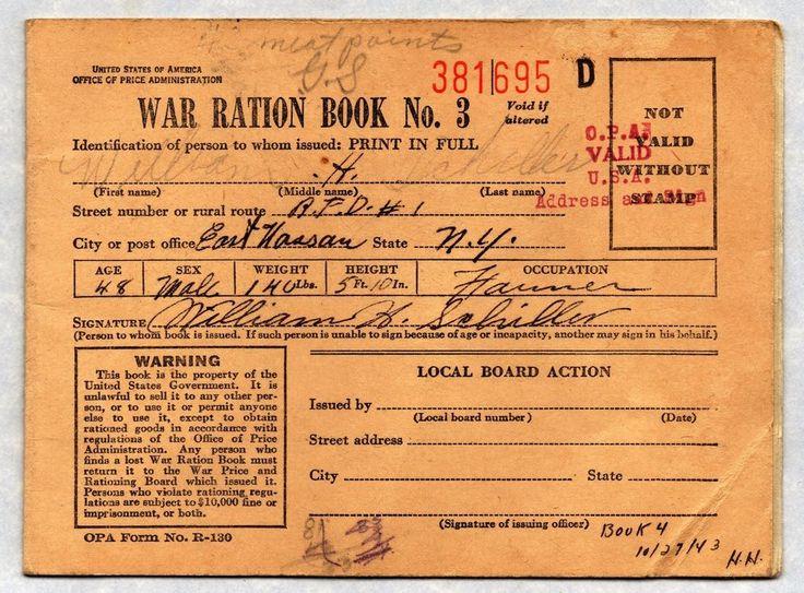 1943 War Ration Stamp Book WWII East Nassau, New York