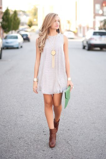 Stripe t shirt dress + booties + statement necklace