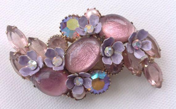 vintage KRAMER lavender pink glass foiled by AgainAgainVintage, $58.00