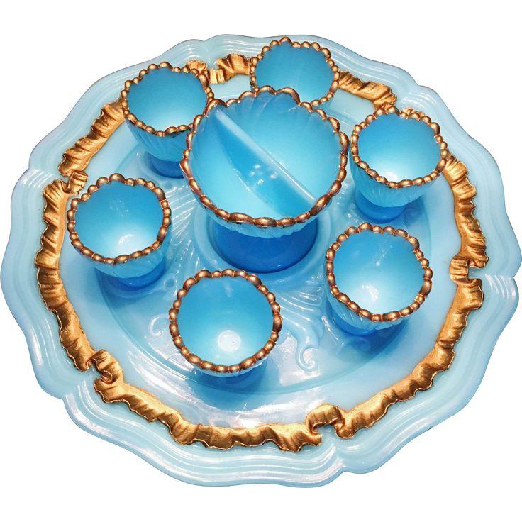 French La Belle Époque Victorian Opaline set of Egg Cups or Liquor Glasses. Art Nouveau. Stunning.