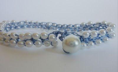 "Grown-Up Girl Friendship Bracelets size: approx. 7 1/2"" bracelet Supplies: Super-Lon #18 micro-macrame thread (I used Montana Blue) Size D c..."