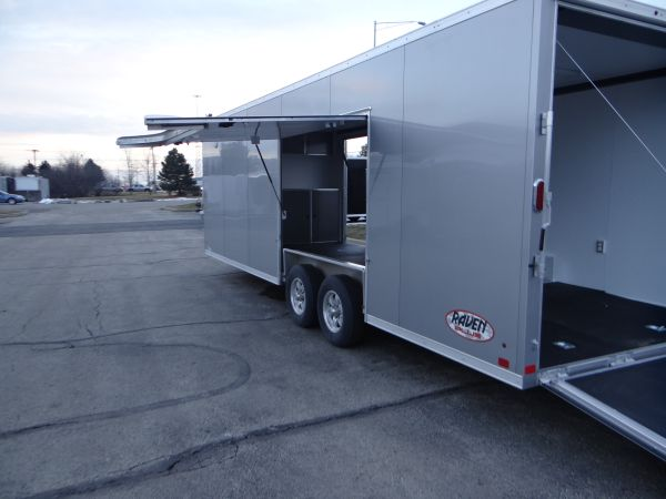 24' Silver Frost Car Hauler With Premium Escape Door. This Is a Very Nice 8.5' x 24' Enclosed Car Hauler with a Rear Ramp Door, a Side Door, Screwless Aluminum Exterior, a Premium Escape Door and 7' Inside Height. $18,095 Any applicable fees and taxes are extra. Ref # E203647 | Advantage Trailers and Hitches