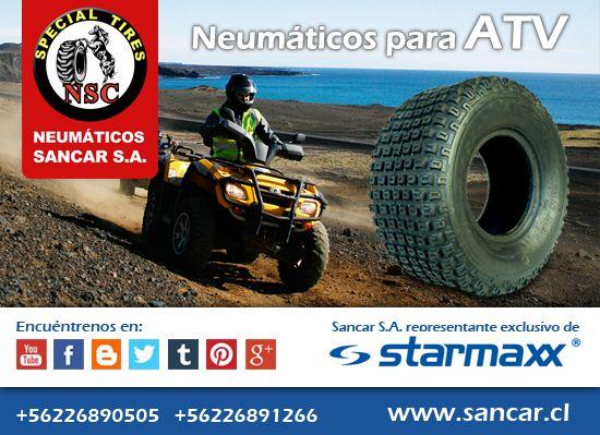 Disfrute su ATV cómo y seguro, neumáticos para Atv Los mejores neumáticos lo esperan en Sancar S.A. Visítenos: www.sancar.cl – ventas@sancar.cl - Antillanca 560 módulo 5 Lo Boza Pudahuel - Teléfono +56226890505 | Bascuñán Guerrero 540 Santiago - Teléfono +56226891266.