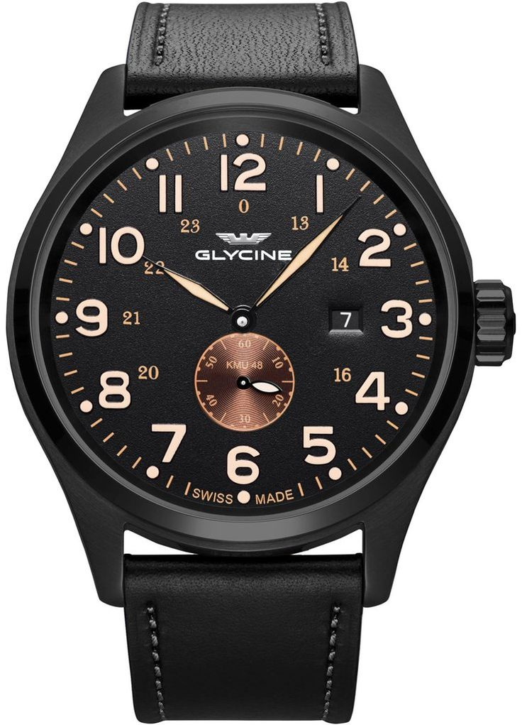 Glycine Watch KMU Pre-Order #add-content #basel-17 #bezel-fixed #bracelet-strap-leather #brand-glycine #case-material-black-pvd #case-width-48mm #date-yes #delivery-timescale-call-us #dial-colour-black #gender-mens #luxury #movement-automatic #new-product