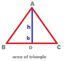 IN GEOMETRY, WHAT IS THE FORMULA FOR AREA OF A TRIANGLE? The area of a triangle is the half the product of base and height of the triangle.  When the sides for the triangle are given, it is right angled triangle which will come out with the maximum area with the given sides.  Area of an equilateral triangle is one fourth the product of root 3 and sides squared.