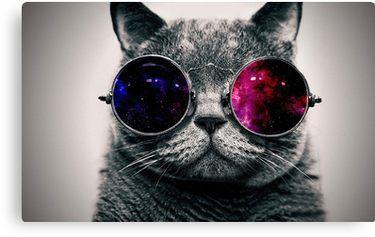 """""""Cat With Glasses Space"""" Leinwanddruck von AZroK"""