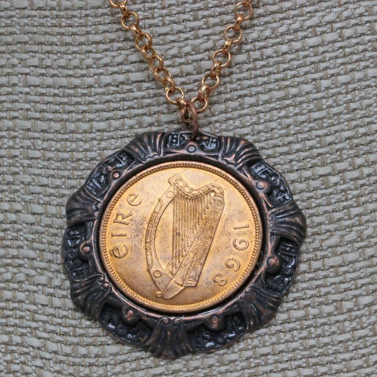 Handmade Jewelry Necklace 22 Inch Chain Coin From Ireland Harp Coin  Luck of the Irish Copper penny Pendant Rusty Iron Pendant Oscarcrow by oscarcrow on Etsy