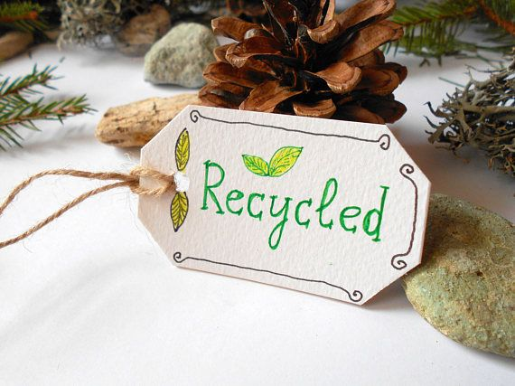 Recycled labels Set of 5 10 15 20 50 or 100 cardstock