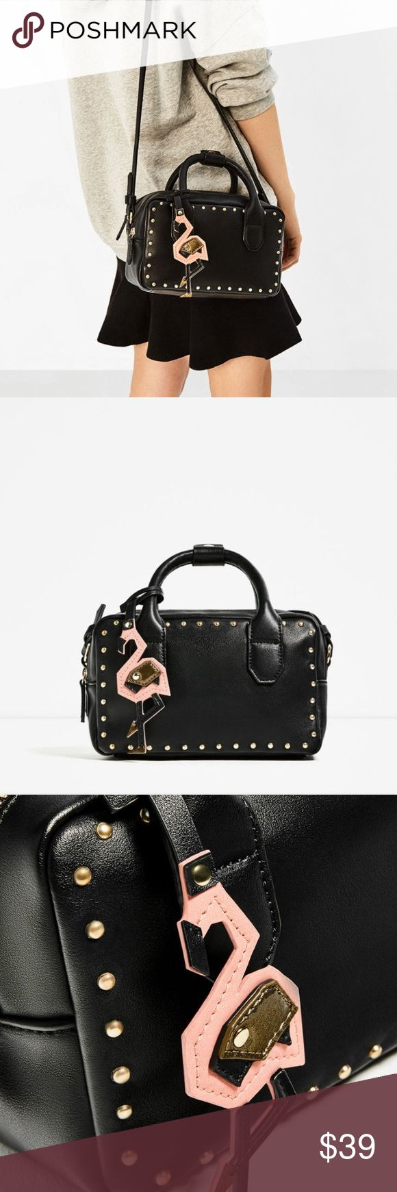 Studdded Mini Bowling Bag - ZARA Black Mini Bowling Bag. Hook & Studs details. Adjustable and detachable shoulder strap. NWT.  🚫SOLD OUT in stores and online 🚫 Zara Bags Crossbody Bags