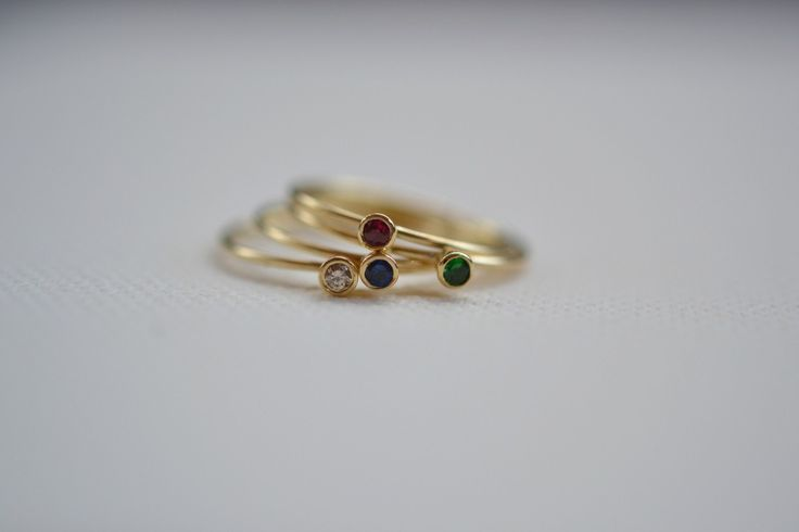 Stacking Rings Solid 18k Yellow Gold Brilliant Red Ruby Sapphire Tsavorite Champagne Diamond Handmade in Greece Slim Rings Stackable Bands by ViazisJewelry on Etsy