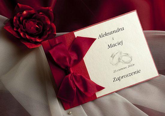 Eleganckie zaproszenia na ślub ze wstążką