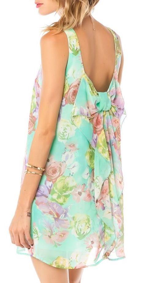 Mint Floral Bow Dress <3