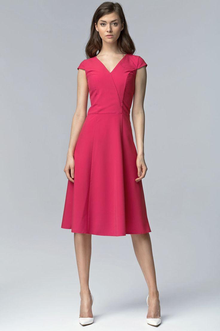 Fuchsia V Neck Cross Bodice Seam Dress with Cap Sleeves