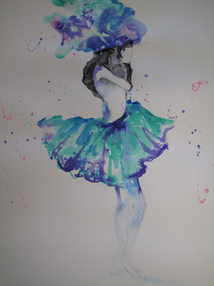 """Ballerina lady"" - original watercolour and ink painting. To see more of my fashion artworks and fashion tips follow me as Miss FrockStar on Facebook."