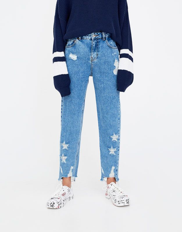 08504e93d5c Ripped mom jeans with stars - Denim Collection - Denim - HIDDEN - PULL&BEAR  United Kingdom