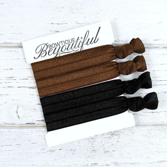 Brunette Hair Ties - Hair Tie Set - Dark Hair Ties - Black Hair Ties - Elastic Hair Ties - Creaseless Hair Ties - Hair Tie Bracelets