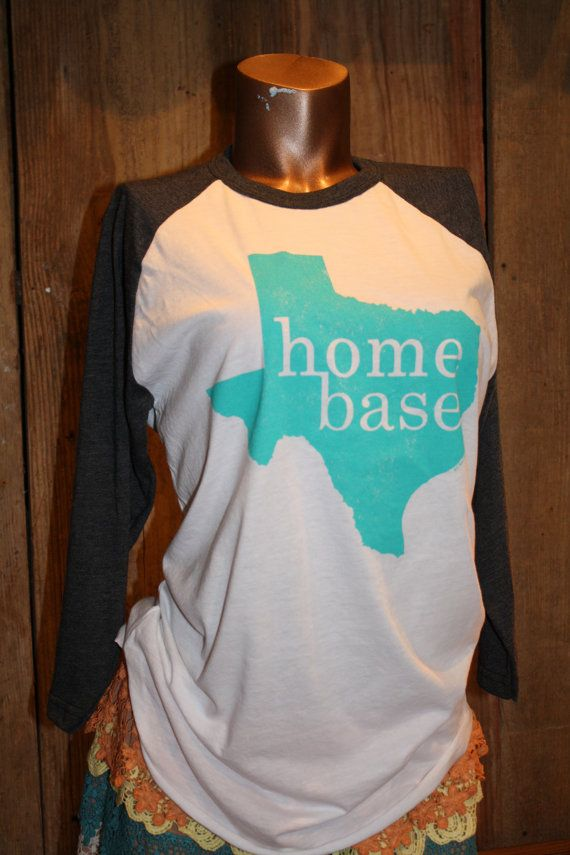 LARGE Texas Home Base State Turquoise Baseball T Shirt tee shirt Native Texan Women Womens on Etsy, $29.95
