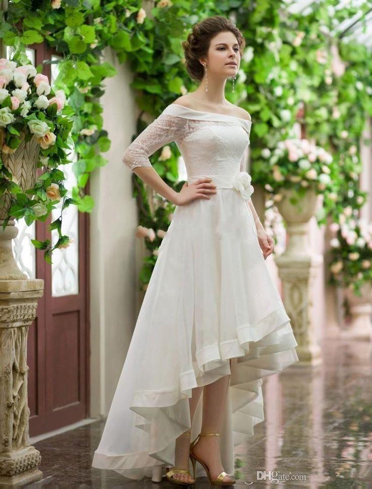 Romantic vintage tea length wedding dress plus size for Plus size off the shoulder wedding dress