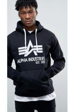 Alpha Industries Hoodie With Big A Logo In Black - Black #modasto #giyim #erkek https://modasto.com/alpha-industries/erkek/br32191ct59