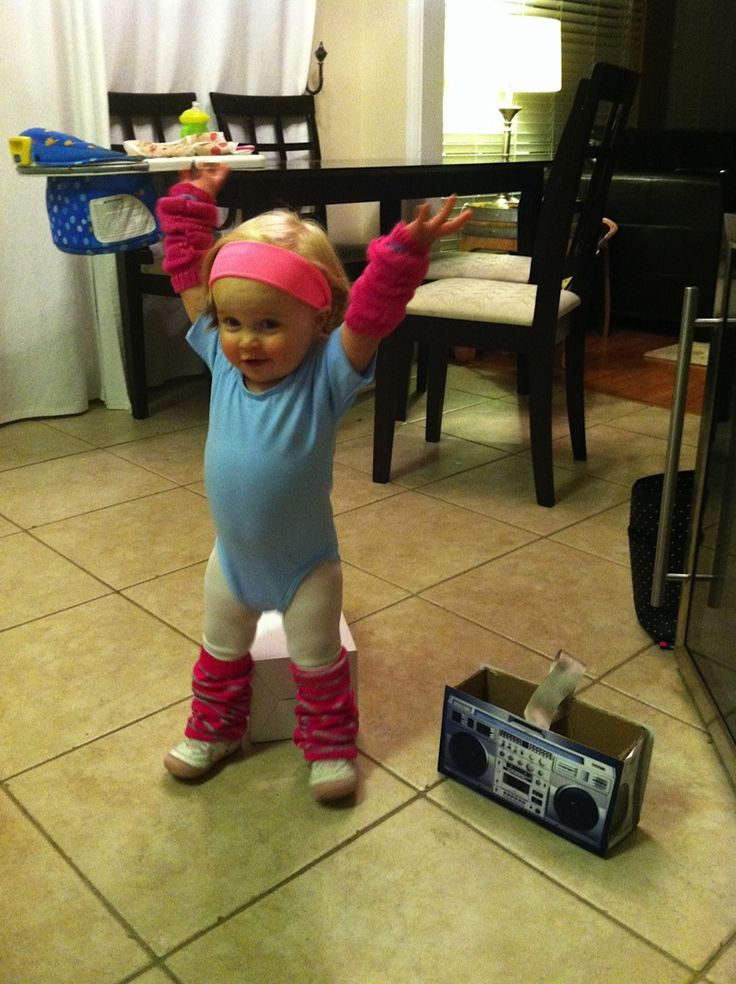 Toddler Halloween Costume - 15 month old. Aerobics Instructor with a Boombox for a candy basket