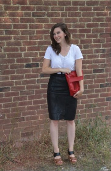 DIY Repurposed leather pencil skirt from an old leather jacket