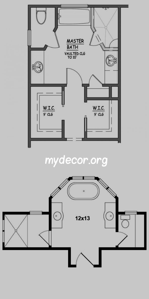 Example Bathroom Floor Plans I Like This Master Bath Layout No Wasted Space Very Efficient Separate Closets Plus Linen My Decor Home Decor Ideas Master Bathroom Design Bathroom Floor