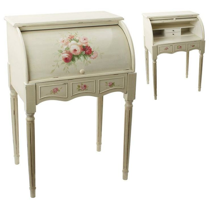 Pretty wooden #secreter in #antique ivory color and #pink flowers. www.inart.com