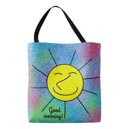 Smiley Happy Sun Multi Color Cute Tote Bag - good gifts special unique customize style