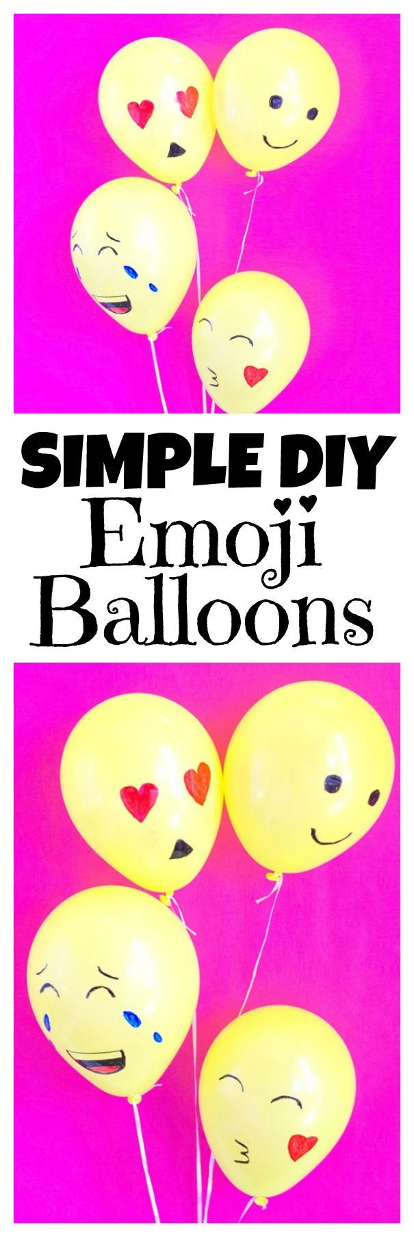 Simple diy emoji balloons are such a fun and easy diy for an emoji party. You can make these balloons in minutes then enjoy your emoji party!