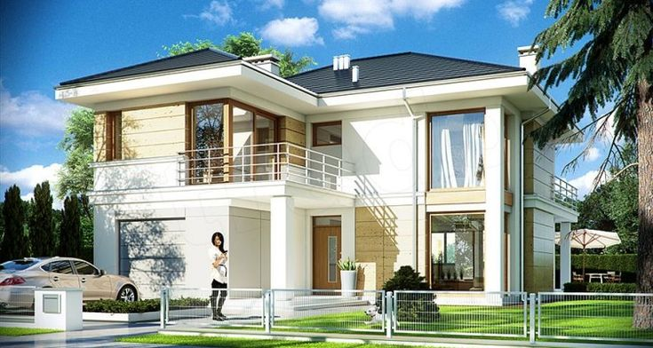 Two Storey Home in Contemporary Style is a popular project. This is a slightly smaller version of the home, preserved similar solutions interior and exterior. The building is two storey, built-in garage block. The house is designed for four-family of six.