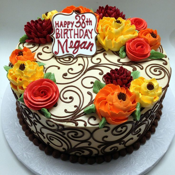 classic fb 2 fall buttercream birthday cake - Birthday Cake Decorations