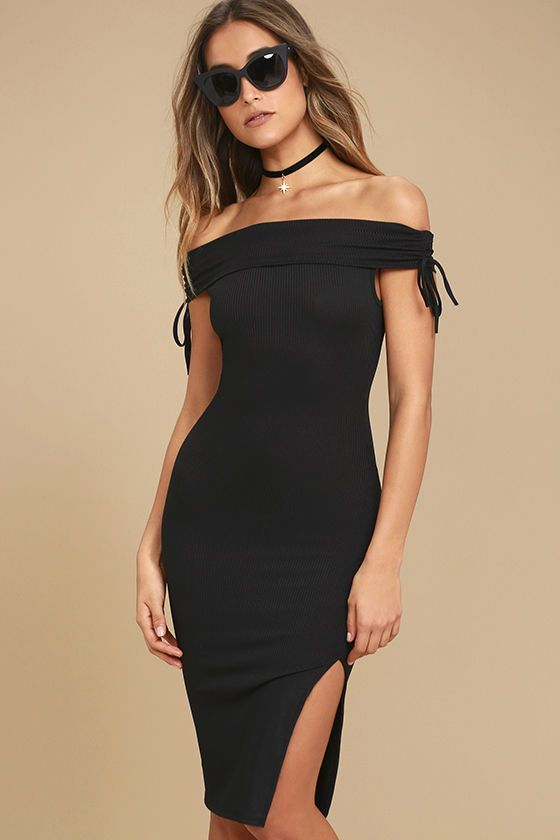 The Never Enough Black Off-the-Shoulder Bodycon Midi Dress is too chic to pass up! Soft ribbed knit shapes an off-the-shoulder neckline and short sleeves with ruched, drawstring detail. Sleek bodycon midi skirt with side slit.