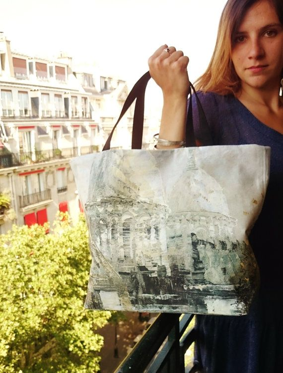 Tote bags painting copy printed Sacré-coeur of Paris by SUNSUELLE