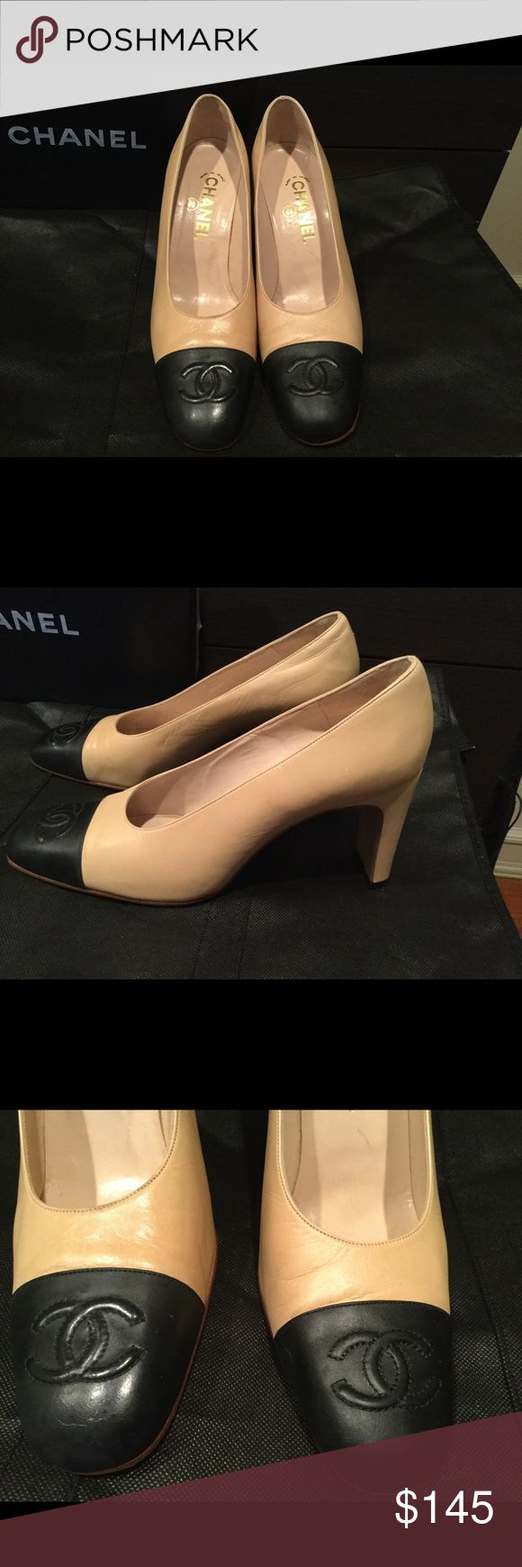 AUTHENTIC CHANEL CAP TOE / TAN & BLACK Up for sale is a beautiful pair of Chanel pumps in size euro 39 1/2 and US size 9 1/2. They have been used, but great condition. Some wrinkle on the leather please review the picture carefully. Box is not included. Only wore 3 times after purchased. Any questions please ask, thanks for looking! CHANEL Shoes Heels