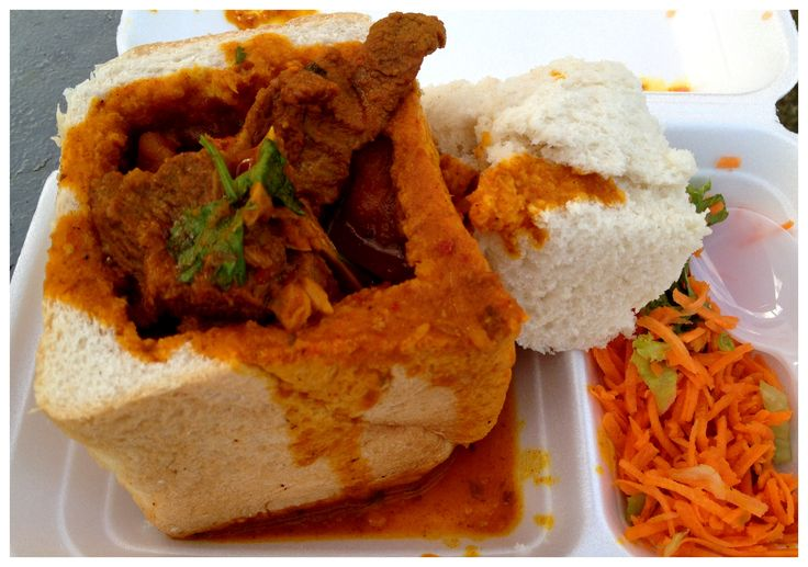 The bunnychow - you absolutely cannot miss this. Here: mutton curry in a hollowed-out white loaf with vinegary carrot salad